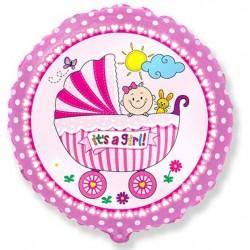Balon foliowy Wózek dla dziewczynki różowy 48cm