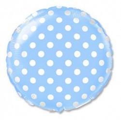 Balon foliowy błękitny  grochy 48cm