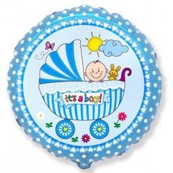 Balon foliowy Wózek dla chłopca niebieski