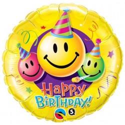 """Balon foliowy Happy Birthday z uśmiechami 18"""""""