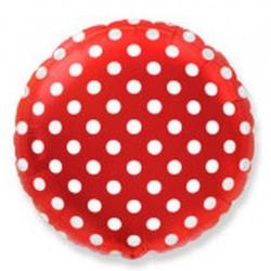 Balon foliowy czerwony w grochy