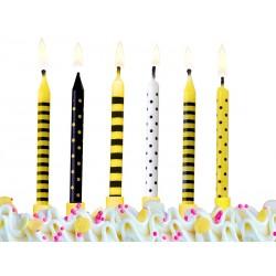 Świeczki urodzinowe Pszczółki PS, 6szt