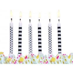 Świeczki urodzinowe Kropki i paski R, 6szt