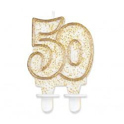 Świeczka cyferka 50, złoty kontur