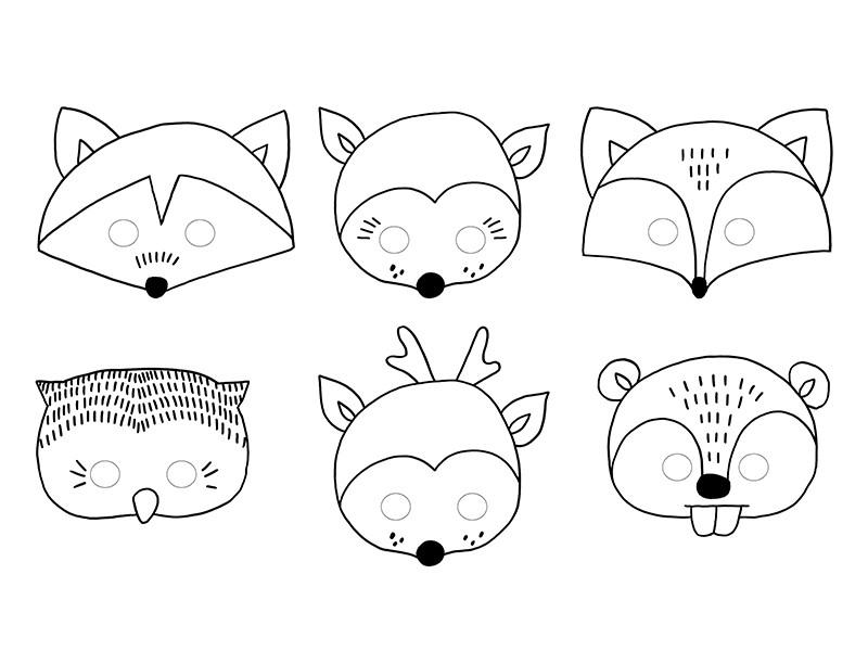 Maski Do Kolorowania Woodland 6szt Partyszop Pl Dekoracje