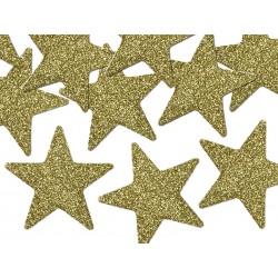 Gwiazdki złote brokatowe, 8szt