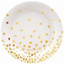Talerzyki papierowe złote groszki białe