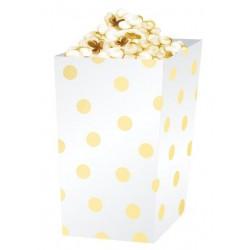 Pudełko na popcorn złote groszki białe