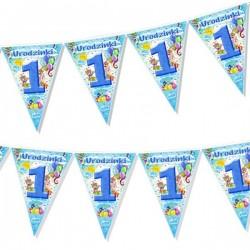 Girlanda flagi na 1 Urodzinki, niebieski 200cm