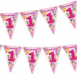 Girlanda flagi na 1 Urodzinki, różowy