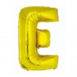"""Balon foliowy litera """"E"""", złoty, 95cm"""
