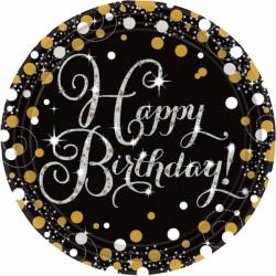 Talerzyki Happy Birthday Złoty&Srebrny, 8szt