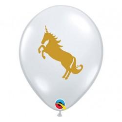 Balon przeźroczysty ze złotym nadrukiem, jednorożec