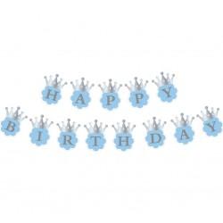 """Girlanda urodzinowa """"Srebrna korona"""", 12cm x 15cm x 180cm, niebieska, 1 szt."""