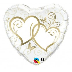 "Balon foliowy 18"" Splecione Serca złote"