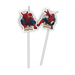 "Słomki z medalionem ""Ultimate Spiderman Web Warriors"", 6 szt."
