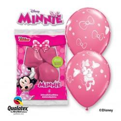 """Balon QL 12"""" z nadr. """"Minnie"""", pastel różowy / 6 szt."""