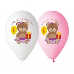 """Balony różowe i białe  """"Moje 1 Urodziny"""""""