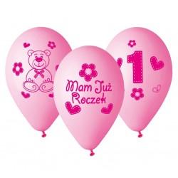 """Balony różowe z ciemnym napisem """"Moje 1 urodziny"""