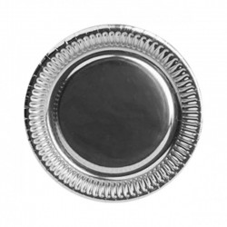 Talerzyki papierowe srebrne, 22cm/8szt.