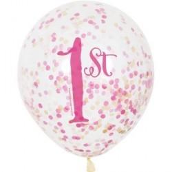 """Balon gumowy 12"""" na roczek, różowy, konfetti"""