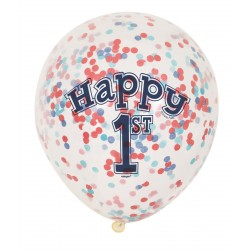 """Balony gumowe 12"""" na roczek, niebieskie, konfetti"""