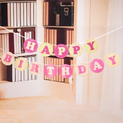 Baner HAPPY BIRTHDAY różowy