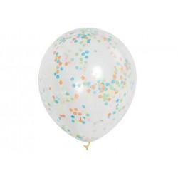 Balony przezroczyste z konfetti w środku - 30 cm - 6 szt.