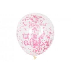 Balony przezroczyste z różowym konfetti w środku - 30 cm - 6 szt.