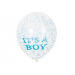 Balony przezroczyste z niebieskim konfetti w środku - 30 cm - 6 szt.