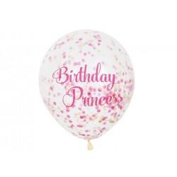 Balony przezroczyste z nadrukiem Birthday Princess oraz konfetti w środku - 30 cm - 6 szt.