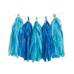 Girlanda z frędzlami niebieskimi - 274 cm
