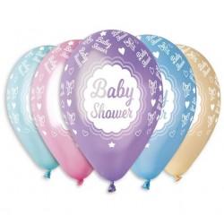 """Balony """"Baby shower"""", metaliczne, 12"""" / 5 szt."""