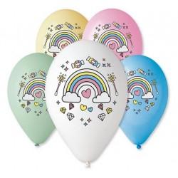 """Balony """"Magiczna tęcza"""", nad. kolorowy, 12"""" / 5 szt."""