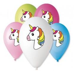 """Balony """"Jednorożec"""", nad. kolorowy, 12"""" / 5 szt."""