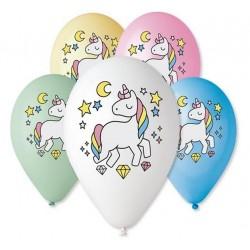 """Balony """"Jednorożec - magiczna noc"""", nad. kolorowy, 12"""" / 5 szt."""