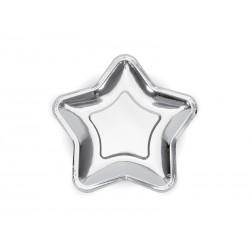 Talerzyki Gwiazdka, srebrny, 18cm