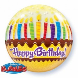 "Balon Bubbles 22"" Happy Birthday, torcik"