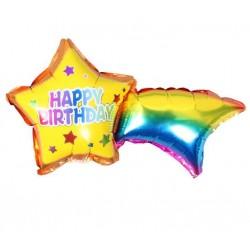 Balon foliowy tęczowa gwiazda Happy Birthday