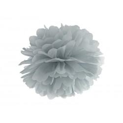 Pompon papierowy srebrny, 35cm