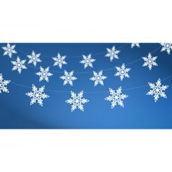 Girlanda Śnieżynki, perłowy, 1,55m