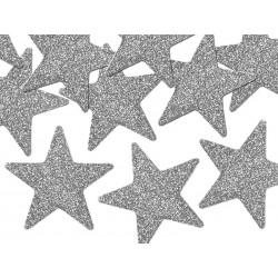 Gwiazdki srebrne brokatowe, 8szt