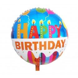 """Balon foliowy 18"""" Happy Birthday (świeczki)"""