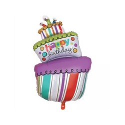 Balon foliowy, tort Happy Birthday