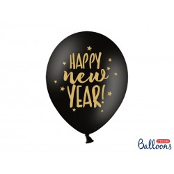 Balony 30cm, Happy New Year, gwiazdki, Pastel Black