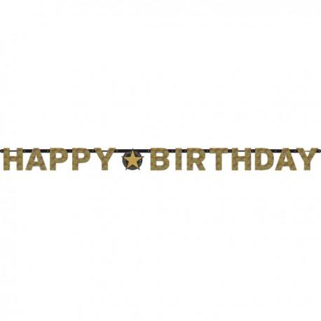 Baner holograficzny złoty HAPPY BIRTHDAY