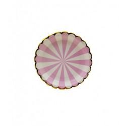 Talerze papierowe Sweet Candy, różowy