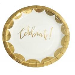 Talerze papierowe Celebrate!, złote
