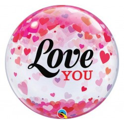 "Balon foliowy 22"" Bubble ""Love You Confetti Hearts"""
