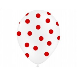 "Balon 14"" Pastel White"" w czerwone kropki, 1 szt."